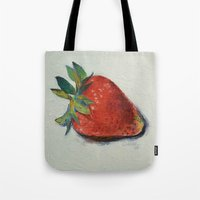 strawberry Tote Bags featuring Strawberry by Michael Creese