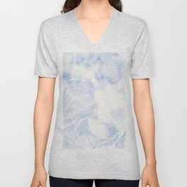 Blue and White Marble Waves Unisex V-Neck