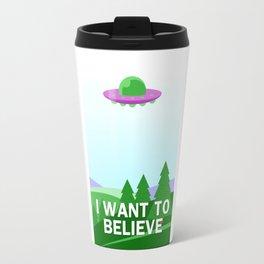 """""""I want to believe"""" cartoon style Travel Mug"""