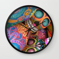 sugar skulls Wall Clocks featuring sugar skulls by wet yeti