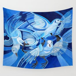 Muge's Pigeons in Blue  Wall Tapestry
