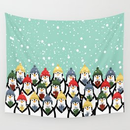 Christmas penguins Wall Tapestry