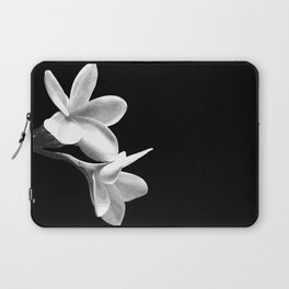 White Flowers Black Background Laptop Sleeve