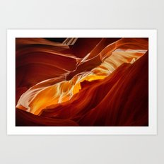 Upper Antelope Canyon - View of Monument Valley Art Print