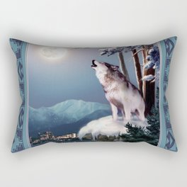 Lone wolf in the shadow of the city of Anchorage  Rectangular Pillow