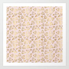 Rough Diamonds Faux Gold Blush Art Print