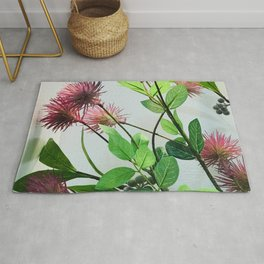 Japanese Pink Flowers By White Wall Rug