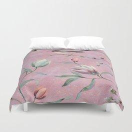 Bird on spring flowers Duvet Cover
