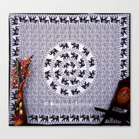 bedding Canvas Prints featuring Black and White Elephant Mandala Flower Tapestry Bedding by Ved India