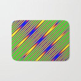 Diagonal Green Gold Op-Art Stripes Bath Mat