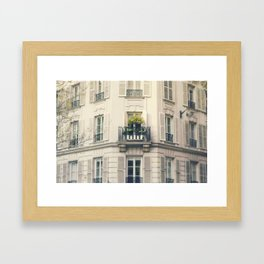 Green Window in Paris Framed Art Print