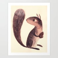 squirrel Art Prints featuring Squirrel by Chuck Groenink