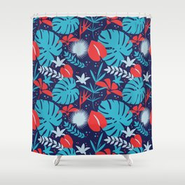 Colorful tropical pattern. Shower Curtain