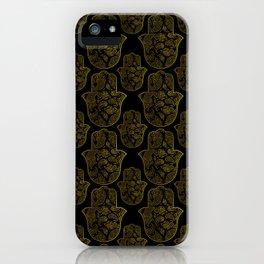 Gold Paisley Hamsa Hand pattern iPhone Case