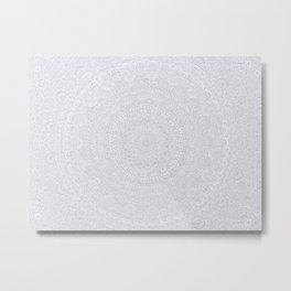 The Most Detailed Intricate Mandala (Light Gray) Maze Zentangle Popular Trending Pattern Design Metal Print