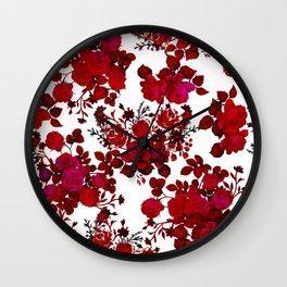 Botanical romantic red black elegant roses floral Wall Clock