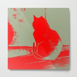red cat art, luminous, neon, cat lover, sulking cat Metal Print