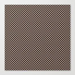 Warm Taupe and Black Polka Dots Canvas Print