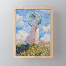 Claude Monet - Woman with a Parasol facing left Framed Mini Art Print