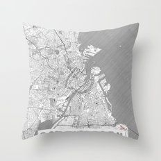 Copenhagen Map Line Throw Pillow