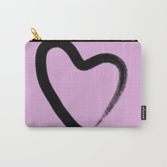 Simple Love - Minimalistic simple black love heart brush stroke on a pink background Carry-All Pouch