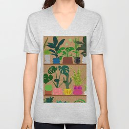 Plants on the Shelf in Warm Wood Unisex V-Neck