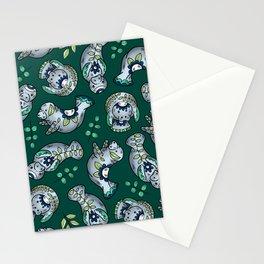 Majestic Folk Art Manatees - Pattern on Green Stationery Cards