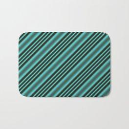 Black and Teal Modern Stripes Bath Mat