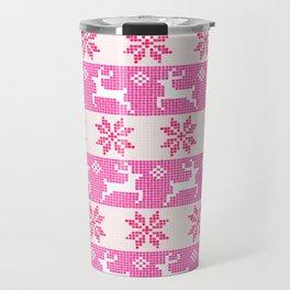 Watercolor Fair Isle in Pink Travel Mug