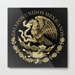 Mexican flag seal in sepia tones on black bg Metal Print