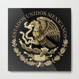 Mexican flag seal in sepia tones on black bg Metal Print