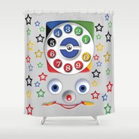 cartoons Shower Curtains featuring Retro Vintage smiley kids Toys Dial Phone iPhone 4 4s 5 5s 5c, ipod, ipad, pillow case and tshirt by Three Second
