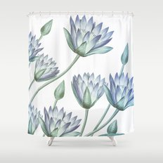 Water Lily Blue Shower Curtain