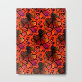 Orange Hearts Metal Print