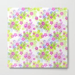 Pink green flowers Metal Print