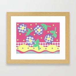 spring gingham floral spot stripe by nettie heron-middleton Framed Art Print