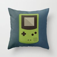 gameboy Throw Pillows featuring GameBoy by Beardy Graphics
