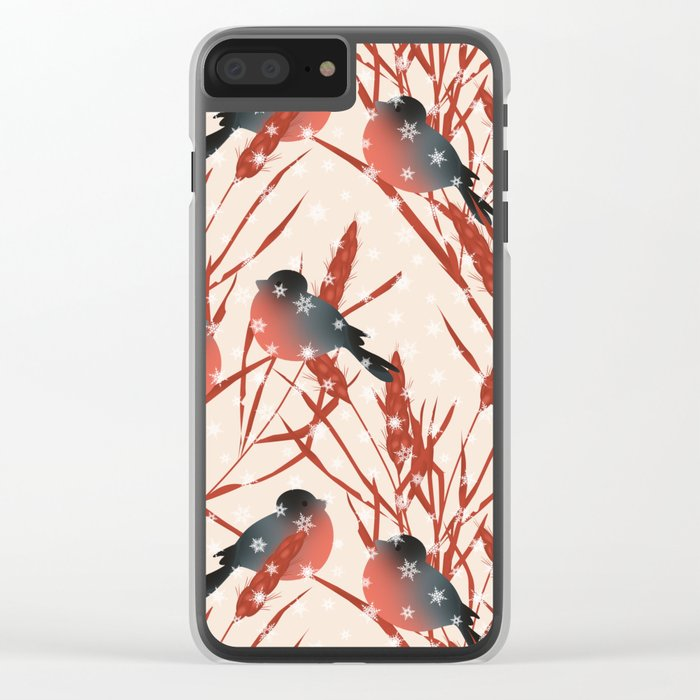 Winter pattern with bullfinches. Clear iPhone Case
