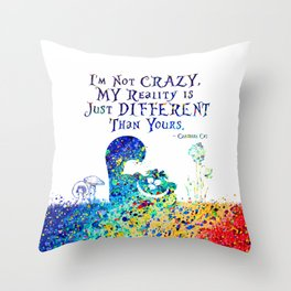 Cheshire Cat Watercolor Throw Pillow