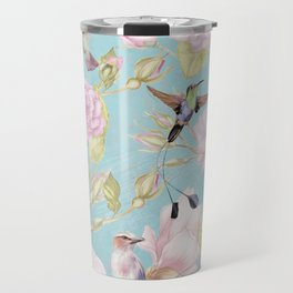 Pastel Teal Vintage Roses and Hummingbird Pattern Travel Mug