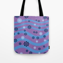 Wave Flower Dots purple blue Tote Bag