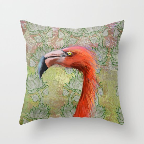 Red big bird Throw Pillow