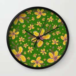 Yellow Flowers on Kelly Green Wall Clock