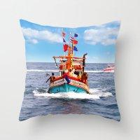 thailand Throw Pillows featuring Pattaya - Thailand by Namchok Petsaen