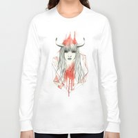 zodiac Long Sleeve T-shirts featuring Zodiac - Taurus by Simona Borstnar