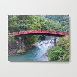 Sacred Red Bridge over the Forest River | Japan landscape photography Metal Print