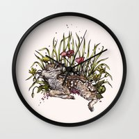 fawn Wall Clocks featuring Fawn by Rachael Smart