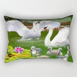 Swans and Baby Cygnets in an Oriental Landscape Rectangular Pillow