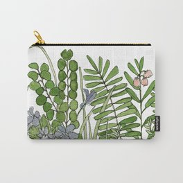 Watercolor Woodland Ferns and Violets Delicate Detailed Nature Art Carry-All Pouch