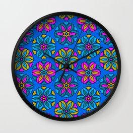 1970s retro flower print - blues Wall Clock